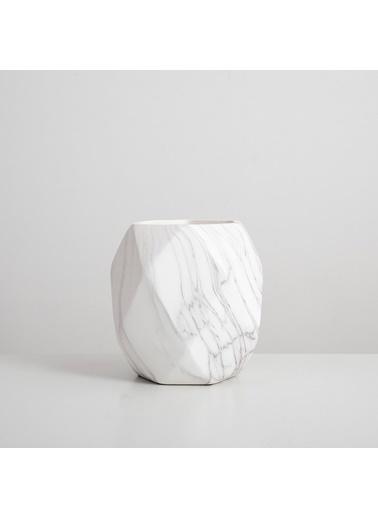 Chakra Ale Saksı L 19,6x19,6x20,3 cm Beyaz/Gri Beyaz
